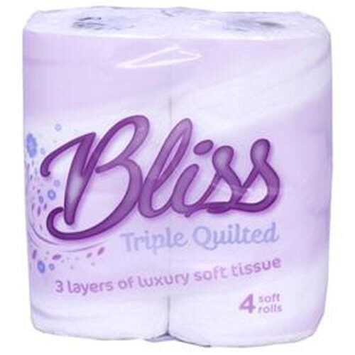Bliss Triple Quilted Toilet Rolls 3ply white are Loorolls.com's most popular and featured 3ply Toilet Roll! 1 Pack of Bliss Triple Quilted 3ply Toilet Rolls. Each Pack contains 10 x 4 Pack Rolls Luxury Quilted, Laminated (Glue Embossed). If 3ply is a little too much for you then why not try our Desna Lillie Toilet Rolls which offer 40 rolls but is a 2ply glue embossed tissue. Our 3ply toilet rolls are perfect for hotels, offices, and most popular for your home. Our best deal if you have storage space is to bulk buy our Bliss Triple Quilted Toilet Rolls is our Pallet deal with 54 cases. If you're a little stuck for space then we offer a great ready made parcel deal with 4 cases of 40 rolls, thats 160 toilet rolls per order.