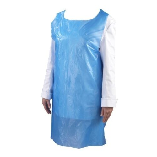Blue LDPE Aprons on a roll 16mu. Pack of 1000