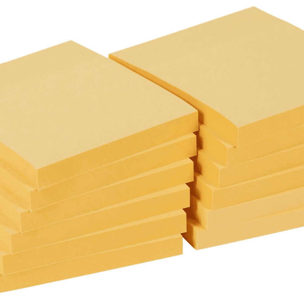 Office Depot Extra Sticky Notes 76 x 76 mm Pastel Yellow 12 Pads of 90 Sheets