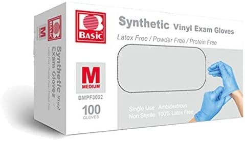 Synthetic Vinyl Exam Gloves - Latex-Free & Powder-Free - Medium, BMPF-3002(Box of 100) Blue