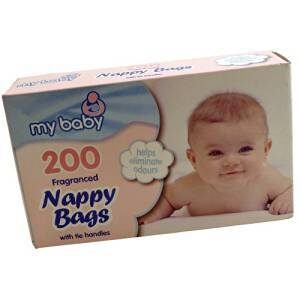 Baby Disposable Nappy Bags Fragranced with Tie Handles 200 Pack
