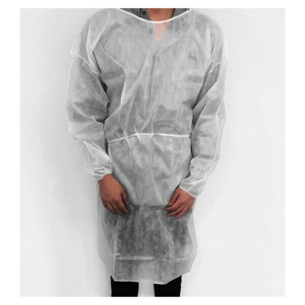 Isolation Gown PP/PE Elastic Cuff Lng White N/Sterile - 120cm long x 140cm waist - tie fastening.