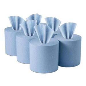 Poppysoft Heavy Duty Blue Centrefeed Paper Tissue 6 Roll Pack