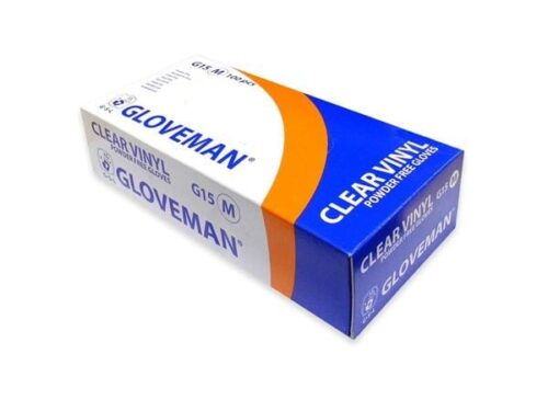 Single Box of 100 Gloveman Clear Vinyl PF Gloves