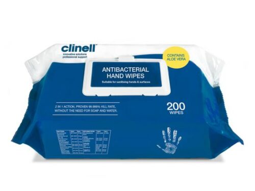 Clinell Antibacterial Hand Wipes - Pack of 200