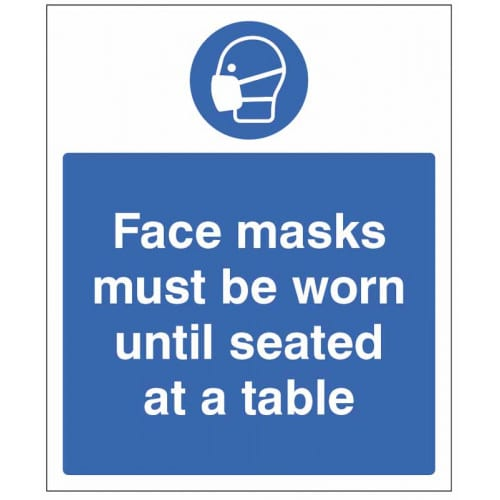 Face Masks must be Worn until Seated Safety Sign