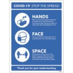 Stop the Spread - Hands - Face - Space Safety Sign