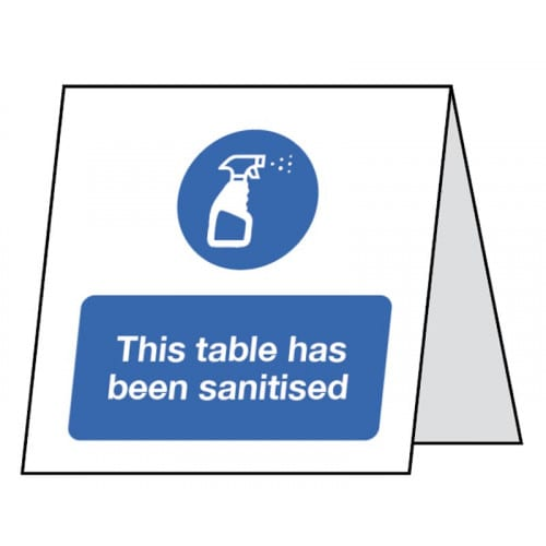 This Table has been Sanitised - Double Sided Table Card Safety Sign