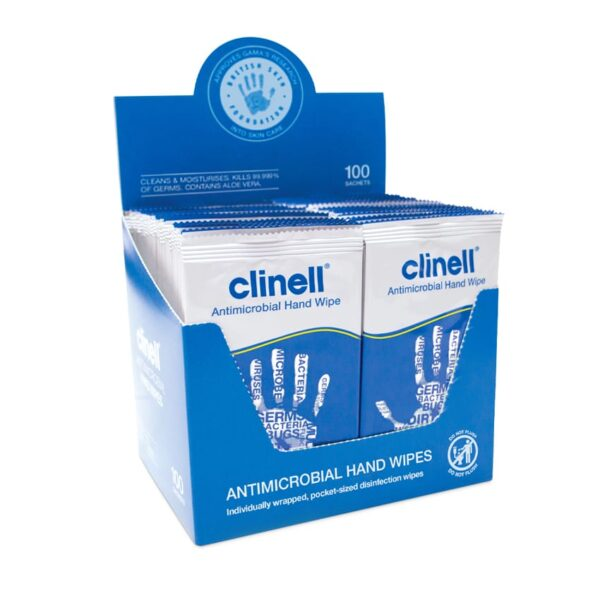 Clinell Antimicrobial Hand Wipes. Pack of 100