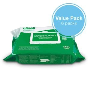 Picture and link to product page of Clinell Wipes 200 Wipes Pack of 6