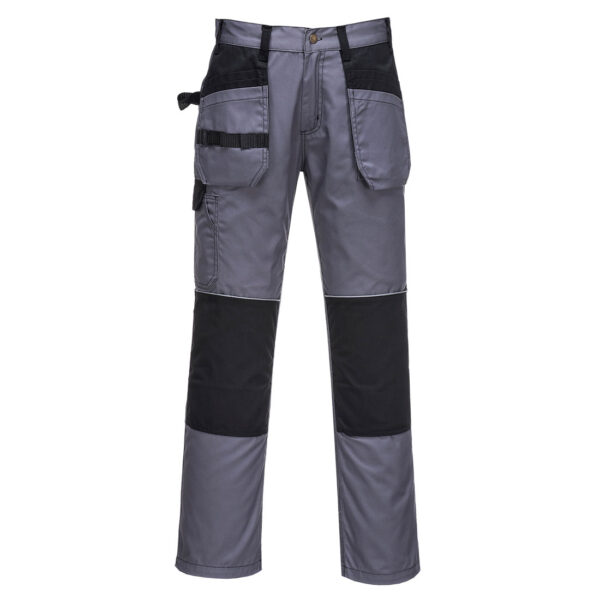C720 - Tradesman Holster Trouser Superb value holster pocket trouser for all trade uses. Extremely versatile pocket storage for tools and personal belongings. Bottom loading knee pad pockets allow insertion of knee pads if required. Reflective trim and modern colourways makes this garment an all round winner. Features Durable polycotton fabric for high performance and maximum wearer comfort 50+ UPF rated fabric to block 98% of UV rays Reflective piping for increased visibility 9 pockets for ample storage Knee pad pockets to facilitate knee pads Swing away tool pockets Contrast colour stitching for added style Rule pocket Twin-stitched seams for extra durability Two back patch pockets