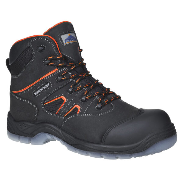 Compositelite All Weather Boot Compositelite All Weather Boot is one of the best in lightweight safety hiker boots. This outstanding non-metallic boot offers superb lightweight protection for your feet even in wet conditions with a waterproof and breathable lining. Dual density PU/TPU hardwearing outsole with shock absorbing seat region, antistatic and slip resistant properties. Protective scuff cap extends longevity of the boot.
