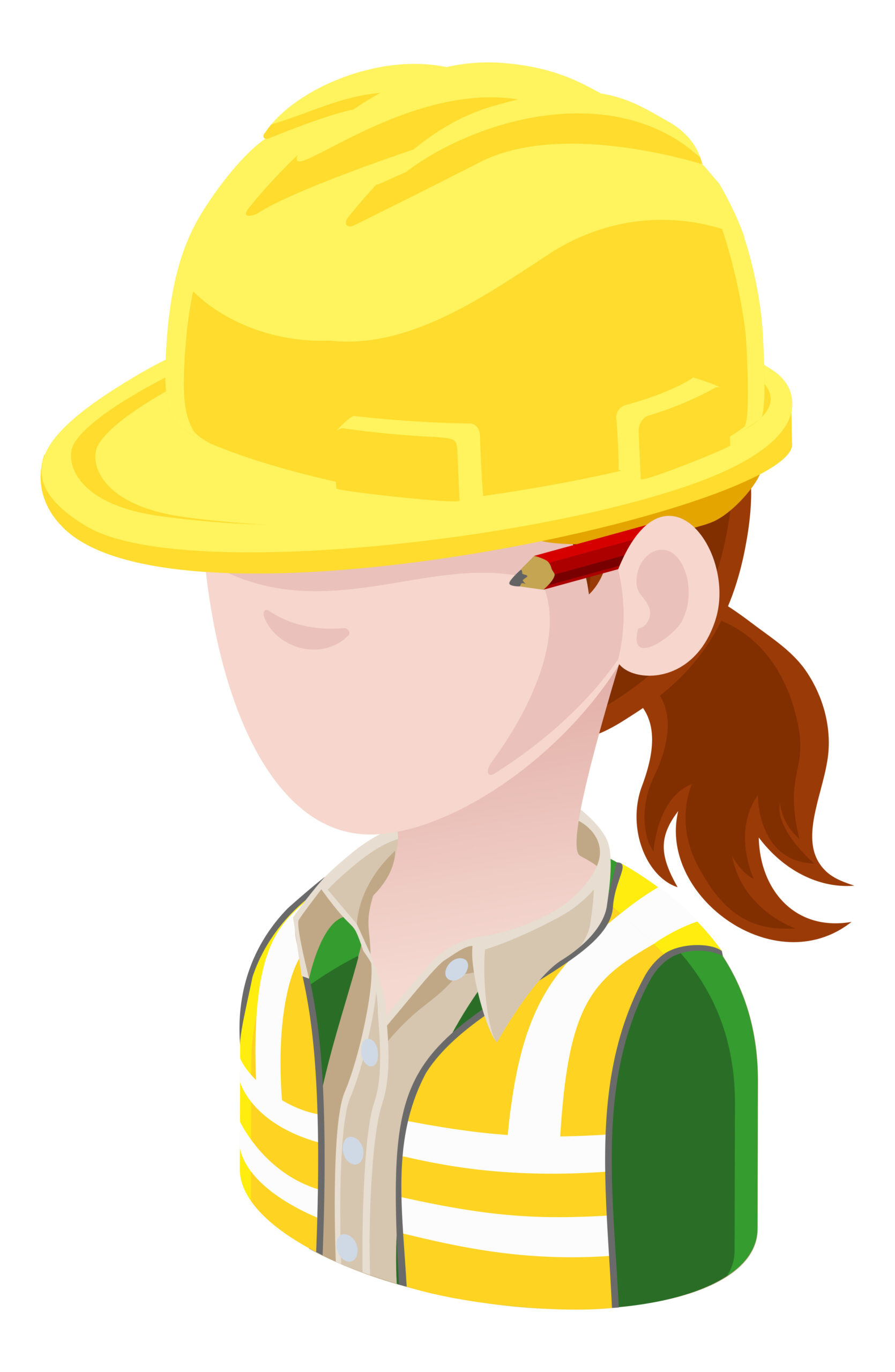 Cartoon woman who has brown hair, wearing yellow hard hat, green shirt, yellow hi-vis vest, with red pencil behind her ear