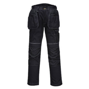 PW305 - PW3 Stretch Holster Work Trouser - Product information Rugged trouser made from high performing two-way stretch fabric to give maximum range of movement when working. Packed full of features to offer superb function and performance including top loading pre-shaped kneepad pockets, adjustable leg length, crotch gusset to reduce stress and prevent seam failure and a side leg cargo pocket. Oxford fabric reinforcement at key abrasion points and triple stitching throughout for maximum durability.