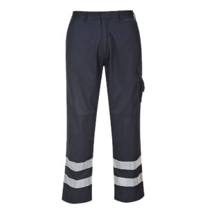 S917 - Iona Safety Combat Trousers An abundance of useful features make the Iona Safety Trouser a popular option where enhanced visibility is needed. Hard wearing pre-shrunk fabric and knee pad pockets make this style great for everyday use in most environments. The generous fit provides comfort and ease of movement. Features Non shrinking to ensure that this style maintains its shape wash after wash Reflective tape for increased visibility 50+ UPF rated fabric to block 98% of UV rays 8 pockets for ample storage Knee pad pockets to facilitate knee pads Half elasticated waist for a secure and comfortable fit Jetted back pocket Rule pocket Multiple utility pockets providing ample storage