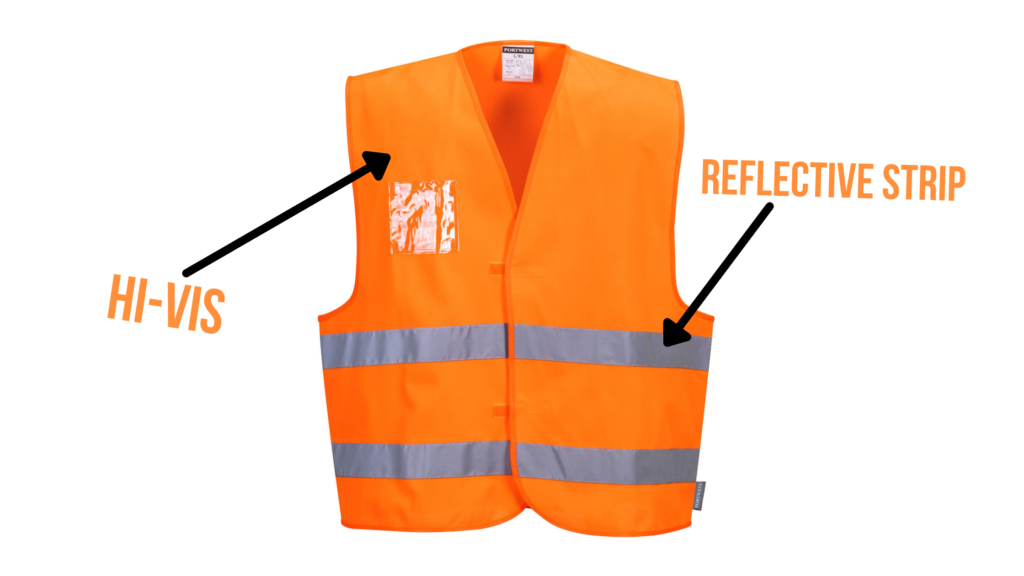 Bright orange Portwest hi-vis vest with transparent ID pocket. Labels pointing to the orange hi-vis colour and the silver reflective strips at the base of the vest