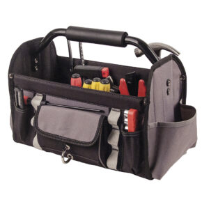 Tool Bag Soft shell open tool bag with collapsible sides and removable PVC base. Provides easy access for all contents. Incorporates a strengthened bar with cushion grip for ease of mobility. Features 4 open pouches, 1 covered pocket, 1 D-ring, 6 outer attachment loops and 14 inner attachment loops.