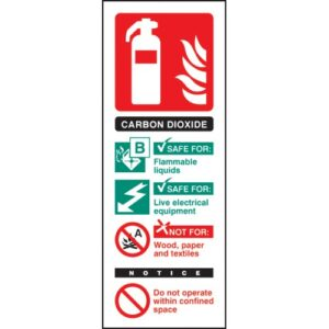 CO2 Carbon Dioxide Extinguisher Identification Safety Sign