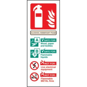 Alcohol Resistant Foam Identification Safety Sign
