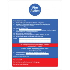 Fire Action Safety Sign with Lift