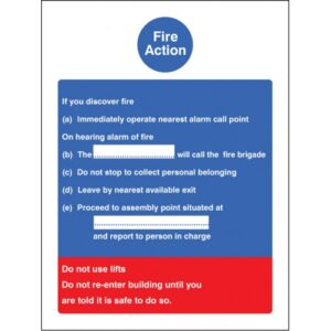 Fire Action Standard Safety Sign