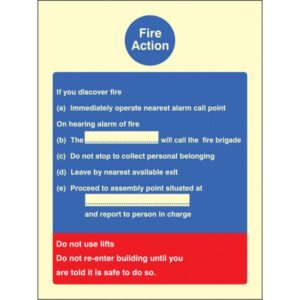 Fire Action Standard Safety Sign Fire Action Standard Safety SignFire Action Standard Safety Sign Fire Action Standard Safety Sign