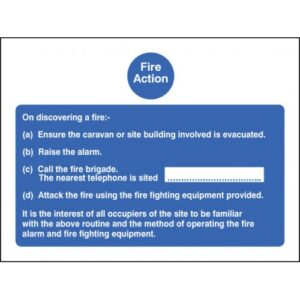Fire Action Caravan Safety Sign