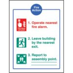 Fire Action - EEC (Dialled Automatically) Safety Sign / Product