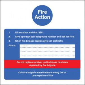 Fire Action Hotel Safety Sign
