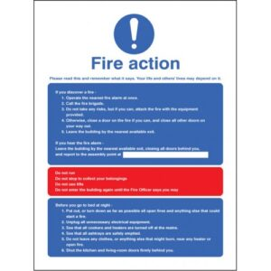 Fire Action Multiple Occupation Safety Signage