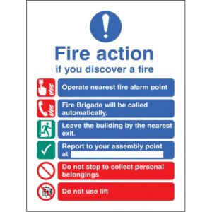 Fire Action Auto Dial with Lift (Dialled Automatically) Safety Sign