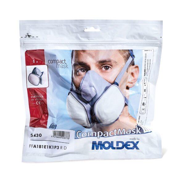 Moldex 5430 Compact Mask FFABEK1P3 R D The Moldex 5430, from the Compact Mask respirators range are ready to use, maintenance free and extremely easy to use. Integrated gas and particulate filters enable an ultra compact design, which in turn gives the wearer excellent field of vision. The Moldex 5430 Compact Mask is also well suited for combining with visors and protective goggles. An optimal balanced centre of gravity affords the user a high degree of wearing comfort, while the anatomically designed face seal ensures a comfortable and secure fit. Thanks to the high flexibility of the mask, one size is available and fits a wide variety of face shapes and sizes. The Moldex 5430 Compact Mask is supplied in a resealable storage bag.