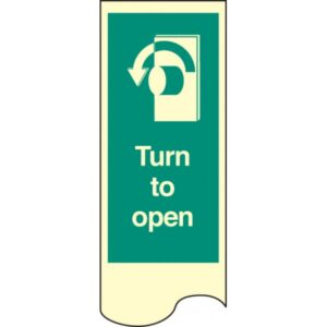 Door Plate - Turn to Open Left Safety Sign