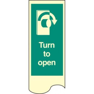 Door Plate - Turn to Open Right Safety Sign