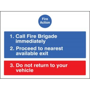 Fire Action for Car Parks Safety Sign / Product