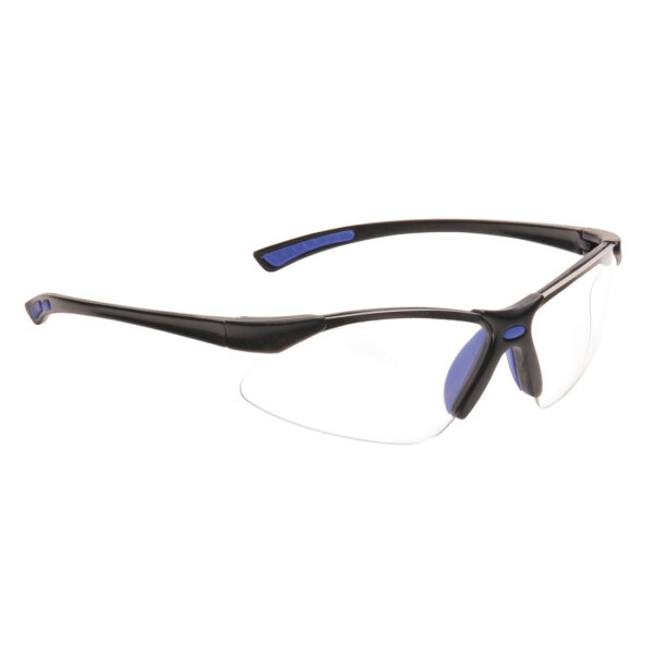 Picture of the PW37 Bold Pro Safety Glasses from Portwest with frame colour Blue