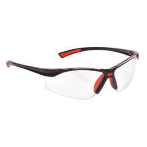 Picture of the PW37 Bold Pro Safety Glasses from Portwest with frame colour Red