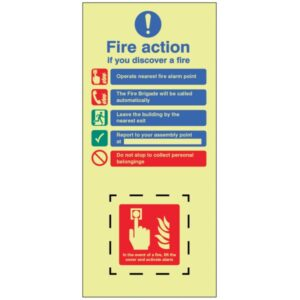 Image of a Fire Sign showing Activate Fire Alarm Sign
