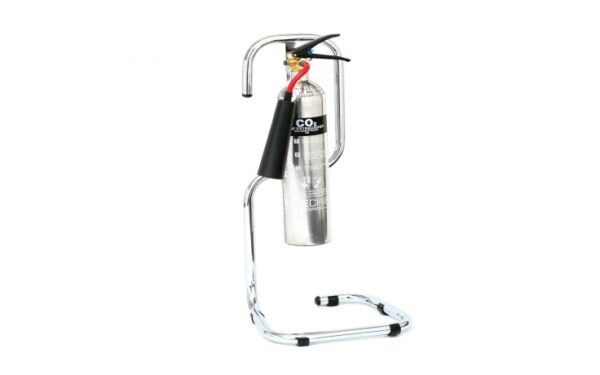 Image of a Chrome Single Fire Extinguisher Stand
