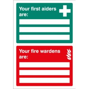 First Aiders Fire Wardens Are Safety Signage